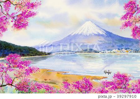 Mount Fuji and sakura cherry blossom at Lake. 39297910
