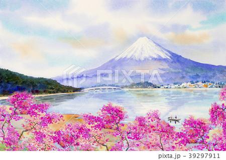 Mount Fuji and sakura cherry blossom at Lake. 39297911
