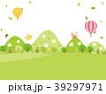 山 気球 野原のイラスト 39297971