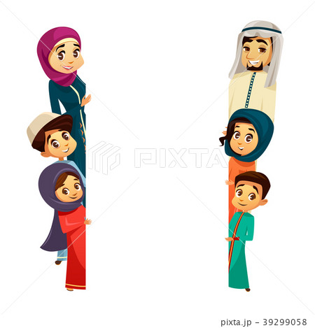 vector arab family characters poster templateのイラスト素材