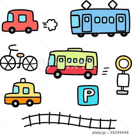 車と電車の手書きイラストセットのイラスト素材 [39299446] , PIXTA