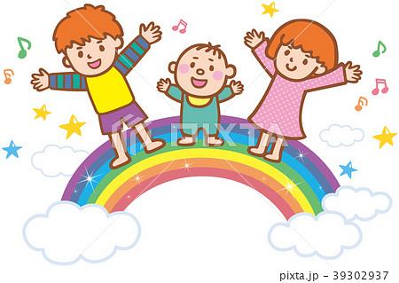 子供たちと虹 39302937