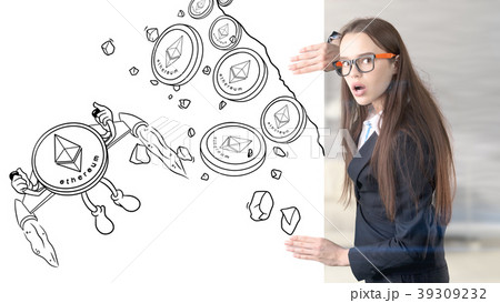 Ethereum sketch with young businesswoman in a suit 39309232