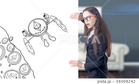 Ethereum sketch with young businesswoman in a suit 39309242