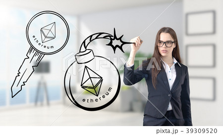 Ethereum sketch with young businesswoman in a suit 39309520