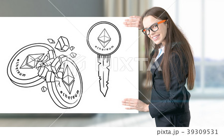 Ethereum sketch with young businesswoman in a suit 39309531