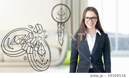 Ethereum sketch with young businesswoman in a suit 39309538