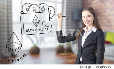 Ethereum sketch with young businesswoman in a suit 39309545