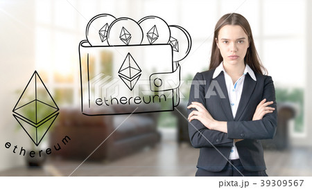 Ethereum sketch with young businesswoman in a suit 39309567