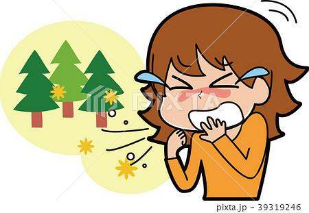 花粉症でくしゃみが止まらない女性のイラスト 39319246