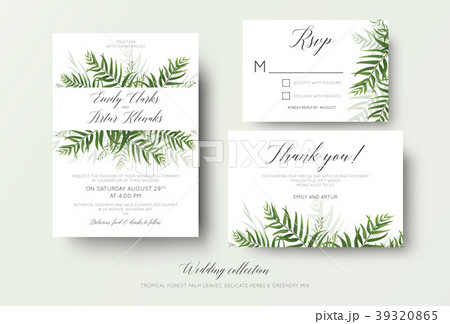 wedding invite rsvp thank you cards floral designのイラスト素材