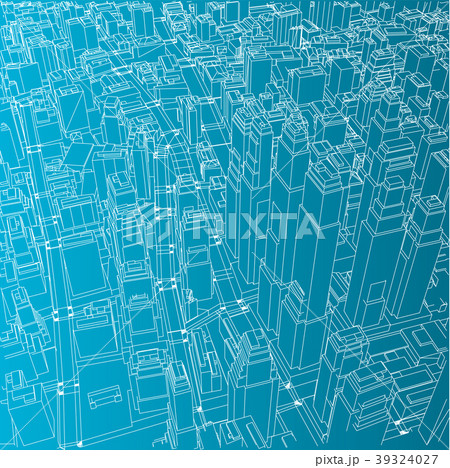 Wire-frame City, Blueprint Style 39324027