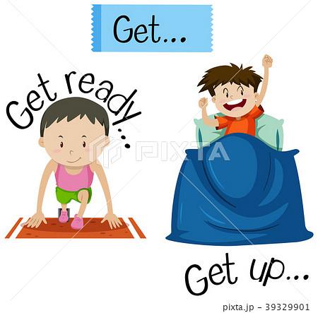 Wordcard for get ready and get...