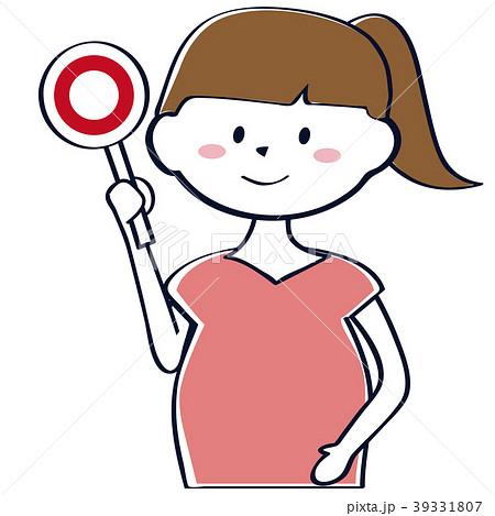 かわいい妊婦 上半身 〇サイン ポニーテール 39331807