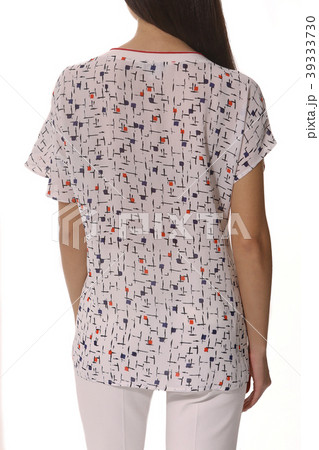 close up photo of short sleeve summer cotton printed blouse shirt on model 39333730