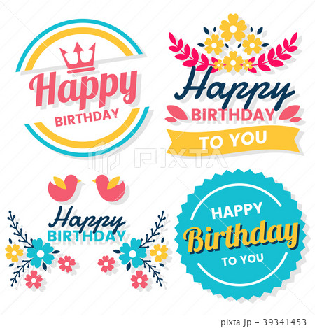 happy birthday vector logo for bannerのイラスト素材 39341453 pixta