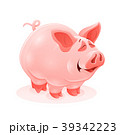 Pink piggy young cartoon animal vector 39342223