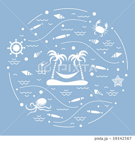 octopus, fish, island with palm trees and a 39342567