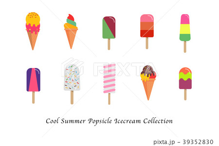 cool summer popsicle ice cream sweet collectionのイラスト素材