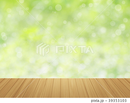 wood table top on green bokeh abstract background 39353103