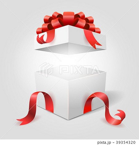 Open gift box with red ribbon 39354320 pixta open gift box with red ribbon negle Images