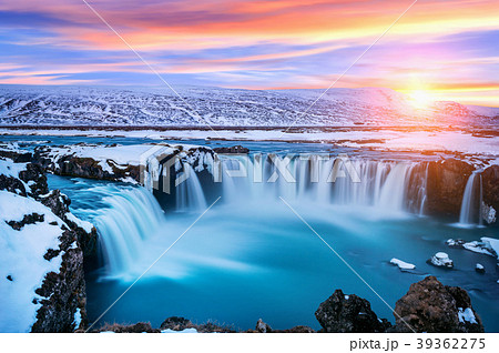 Godafoss waterfall at sunset in winter, Iceland. 39362275
