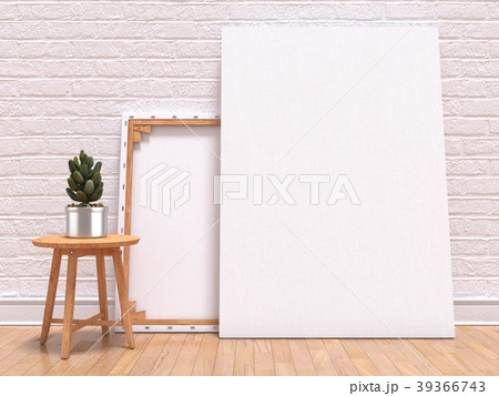 Mock up canvas frame with plant, floor and wall 3D 39366743