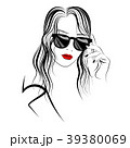 Graphic image of girl in sunglasses and long hair 39380069