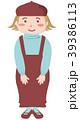 女の子 全身 ベレー帽のイラスト 39386113