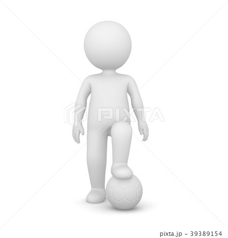 3D Rendering of a man with one foot on a ball 39389154