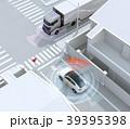 「止まれ」標識の前一時停止するSUVの前にトラックが通過する。コネクテッドカーコンセプト 39395398