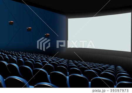 Cinema auditorium with blue seats and white blank  39397973