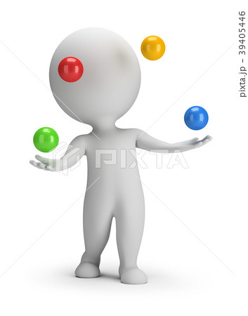 3d small people - throws balls 39405446