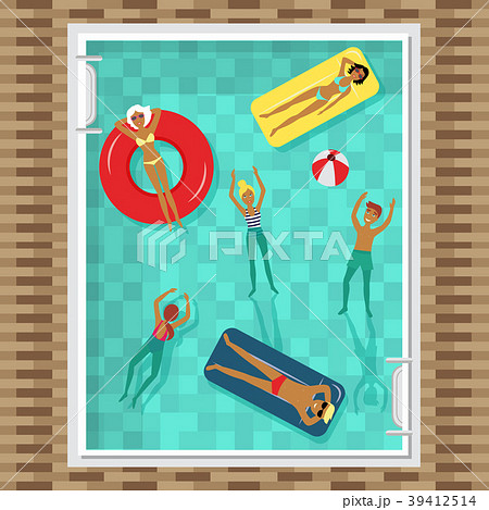 Flat top view picture of people swimming in pool 39412514
