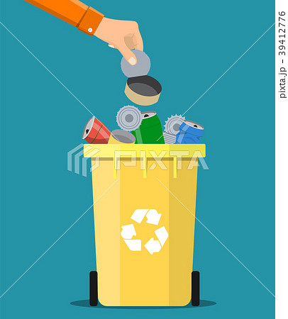 man hand throws garbage into a metal container 39412776