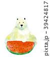 白クマ スイカ 動物のイラスト 39424817