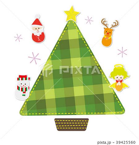 12月 チェック柄フレーム クリスマス 39425560