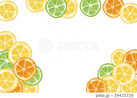 水彩風 輪切りレモン・オレンジ・ライム フレーム 39425726