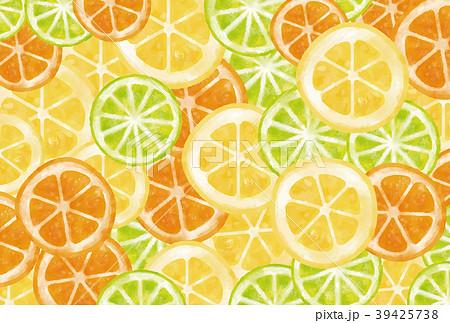 水彩風 輪切りレモン・オレンジ・ライム背景 39425738