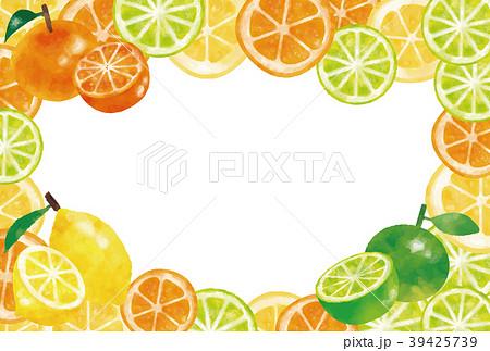 水彩風 フレッシュレモン・オレンジ・ライムフレーム 39425739