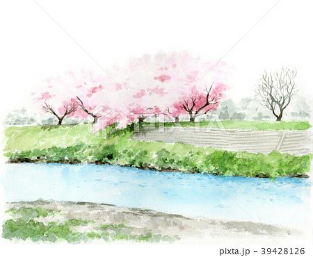 水彩で描いた川と土手と桜の木の風景画 39428126