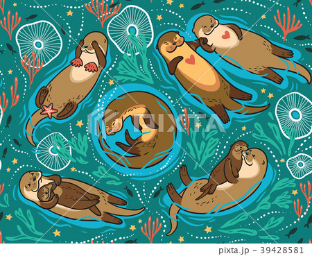 Vector seamless pattern with cute lovely otters in 39428581