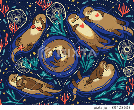 Vector seamless pattern with cute lovely otters in 39428633