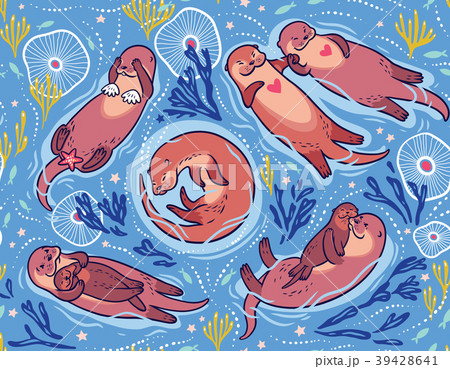 Vector seamless pattern with cute lovely otters in 39428641