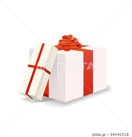 Two white gift boxes with red tapes and bows  39440528