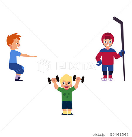 Vector flat boy kids doing sports set 39441542