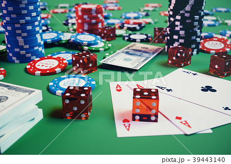 3D illustration casino game. Chips, playing cards 39443140