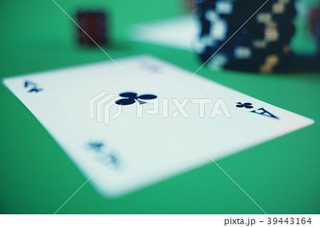 3D illustration casino game. Chips, playing cards 39443164