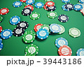 3D illustration playing chips, cards and money for 39443186