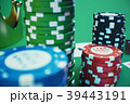 3D illustration playing chips, cards and money for 39443191